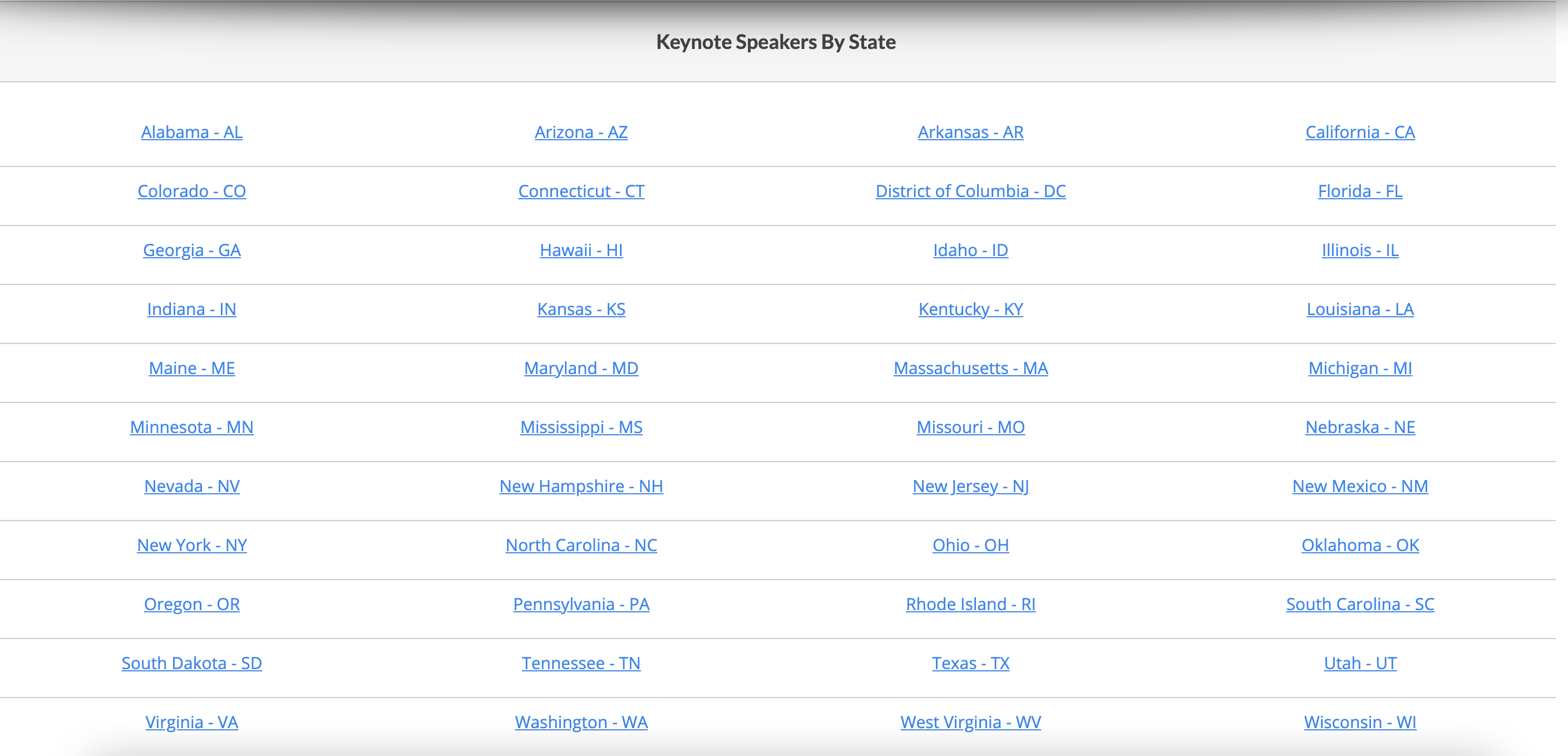 Local Keynote Speakers by State